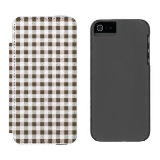 Modelo blanco de la guinga de Brown Funda Cartera Para iPhone 5 Watson
