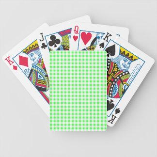 Modelo blanco de la guinga de la verde lima baraja de cartas