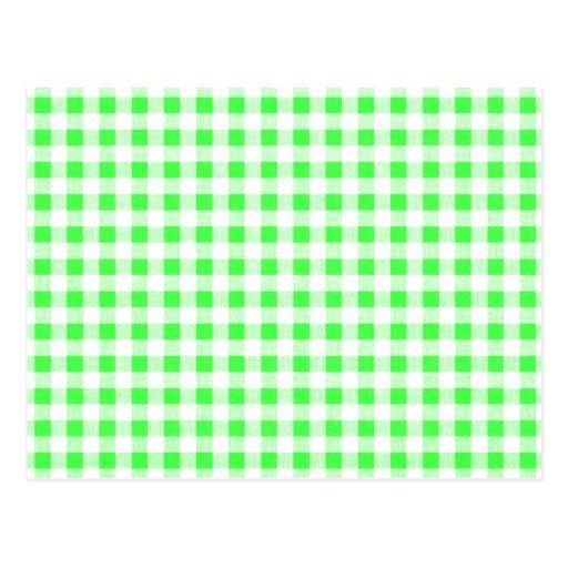 Modelo blanco de la guinga de la verde lima tarjetas postales