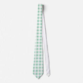 Modelo blanco de la guinga de la verde menta corbatas