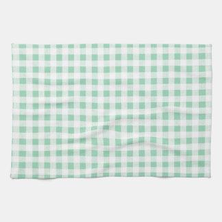 Modelo blanco de la guinga de la verde menta toallas de mano