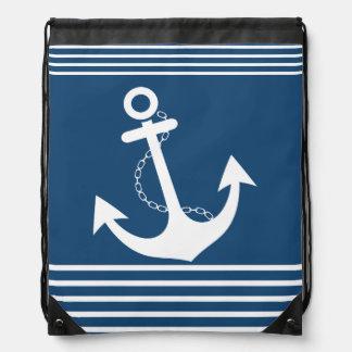Modelo blanco de la marina de guerra de la raya mochilas