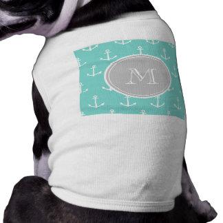 Modelo blanco de las anclas de la verde menta, mon playera sin mangas para perro