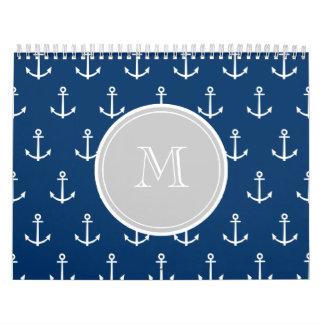 Modelo blanco de las anclas de los azules marinos, calendarios de pared