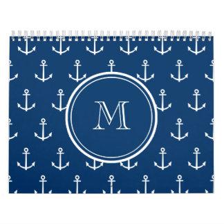 Modelo blanco de las anclas de los azules marinos, calendarios