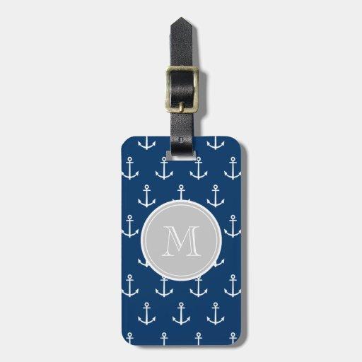 Modelo blanco de las anclas de los azules marinos, etiquetas bolsas