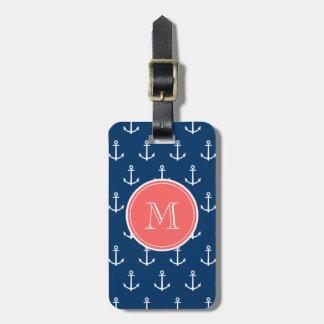 Modelo blanco de las anclas de los azules marinos, etiquetas para equipaje