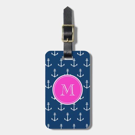Modelo blanco de las anclas de los azules marinos, etiqueta de equipaje