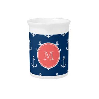 Modelo blanco de las anclas de los azules marinos, jarrones