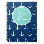 Modelo blanco de las anclas de los azules marinos, cuaderno