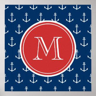 Modelo blanco de las anclas de los azules marinos, posters