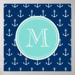 Modelo blanco de las anclas de los azules marinos, impresiones
