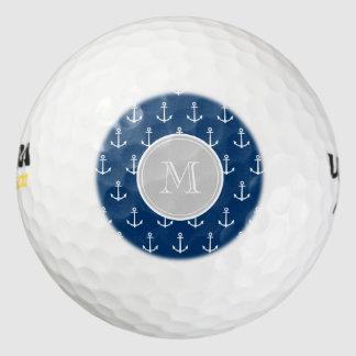 Modelo blanco de las anclas de los azules marinos, pack de pelotas de golf