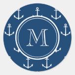 Modelo blanco de las anclas de los azules marinos, etiqueta redonda
