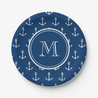 Modelo blanco de las anclas de los azules marinos, platos de papel