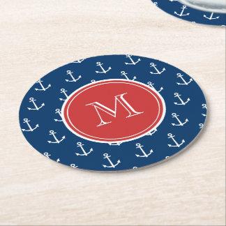 Modelo blanco de las anclas de los azules marinos, posavasos de cartón redondo