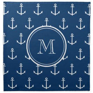 Modelo blanco de las anclas de los azules marinos, servilleta de papel