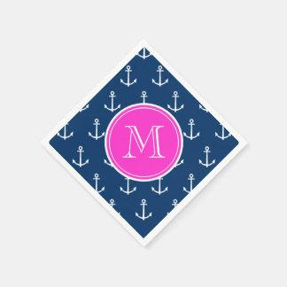 Modelo blanco de las anclas de los azules marinos, servilletas desechables