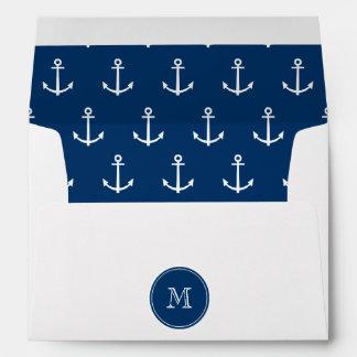 Modelo blanco de las anclas de los azules marinos, sobres