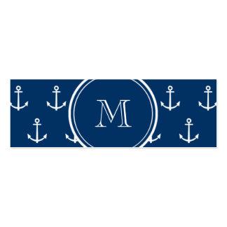 Modelo blanco de las anclas de los azules marinos, plantillas de tarjetas de visita