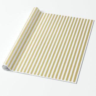 Modelo blanco de las rayas de la hoja de oro papel de regalo