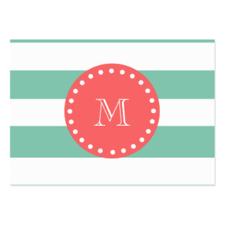 Modelo blanco de las rayas de la verde menta, mono tarjetas de visita grandes