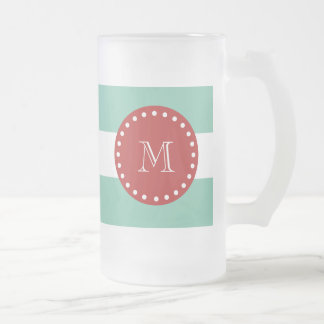 Modelo blanco de las rayas de la verde menta, mono taza de café