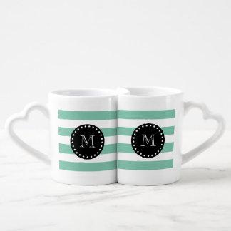 Modelo blanco de las rayas de la verde menta, set de tazas de café