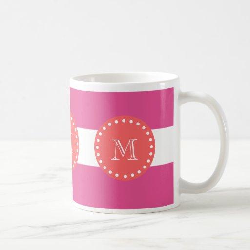 Modelo blanco de las rayas de las rosas fuertes, taza de café
