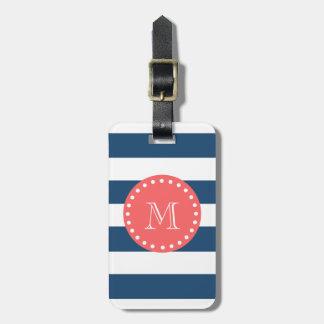 Modelo blanco de las rayas de los azules marinos,  etiquetas bolsa