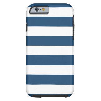 Modelo blanco de las rayas de los azules marinos funda para iPhone 6 tough