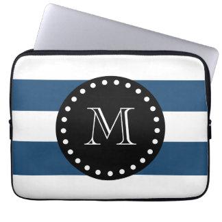 Modelo blanco de las rayas de los azules marinos,  funda ordendadores