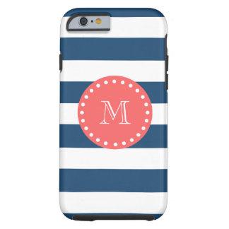 Modelo blanco de las rayas de los azules marinos, funda para iPhone 6 tough