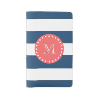 Modelo blanco de las rayas de los azules marinos, funda para libreta y libreta grande moleskine