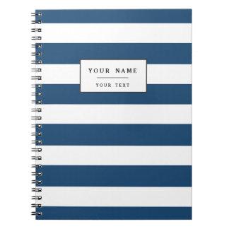 Modelo blanco de las rayas de los azules marinos libreta espiral