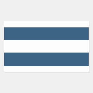 Modelo blanco de las rayas de los azules marinos rectangular pegatinas