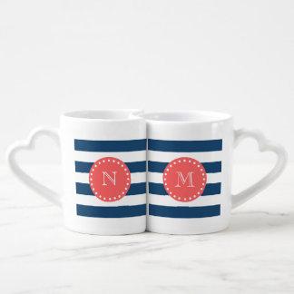 Modelo blanco de las rayas de los azules marinos, set de tazas de café