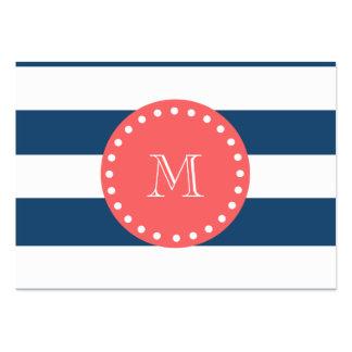 Modelo blanco de las rayas de los azules marinos,  tarjetas de visita grandes