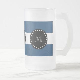 Modelo blanco de las rayas de los azules marinos, taza cristal mate