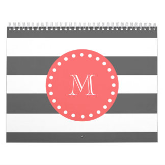 Modelo blanco de las rayas del carbón de leña, mon calendario de pared