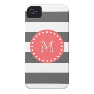 Modelo blanco de las rayas del carbón de leña mon Case-Mate iPhone 4 funda