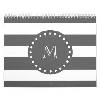 Modelo blanco de las rayas del carbón de leña su calendarios de pared