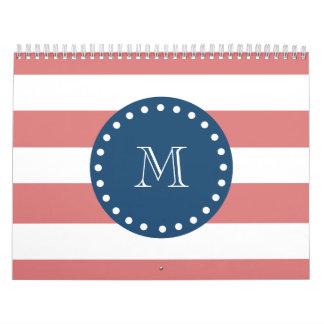 Modelo blanco de las rayas del melocotón monogram calendarios de pared