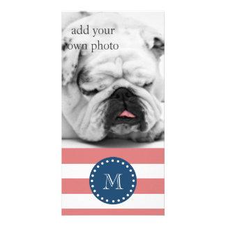 Modelo blanco de las rayas del melocotón, monogram tarjeta personal