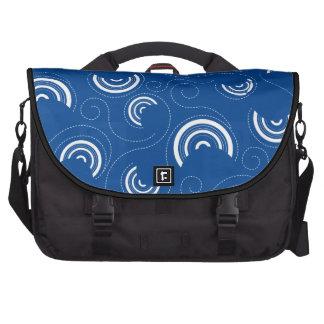 Modelo blanco de los círculos en azul bolsas de portátil