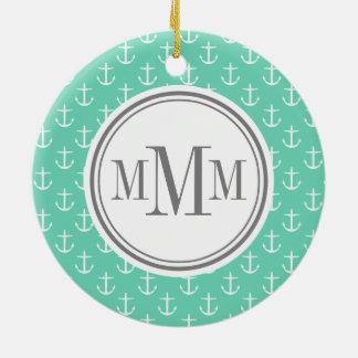 Modelo blanco del ancla de la menta del monograma  ornamentos de navidad