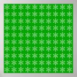Modelo blanco del copo de nieve con el fondo verde posters