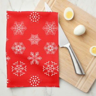Modelo blanco del copo de nieve en navidad clásico toalla de mano