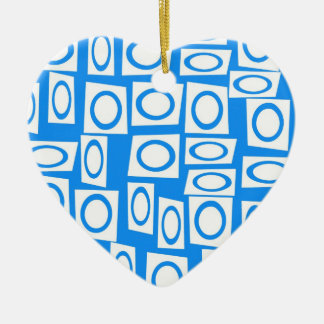 Modelo blanco del cuadrado del círculo de la adorno de cerámica en forma de corazón
