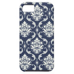 Modelo blanco del damasco de los azules marinos iPhone 5 Case-Mate cobertura